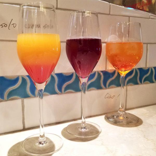 スパークリングワインを使用した、カクテルを多数ご用意!イタリアで歴史的な言い伝えのあるリキュールや濃厚フルーツジュースを合わせ、普段お酒をあまり飲まない女性にも、気軽に味わっていただけるよう飲みやすさにもこだわりました!イタリア産にこだわる厳選ワインも多数ご用意しています。