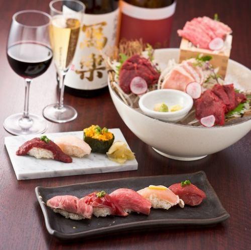 肉寿司に合うワインも用意