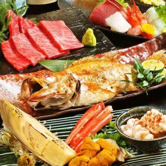 【会社宴会】厳選食材を使用した豪華料理等料理8品&2.5時間飲放クーポンで5500円⇒5000円