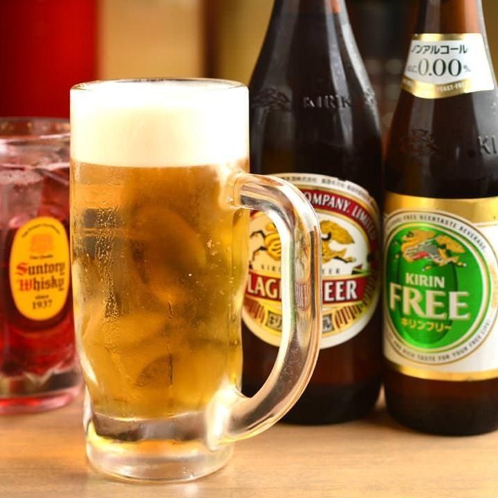 コースの飲み放題は生ビール・果実酒等豊富に100種類!