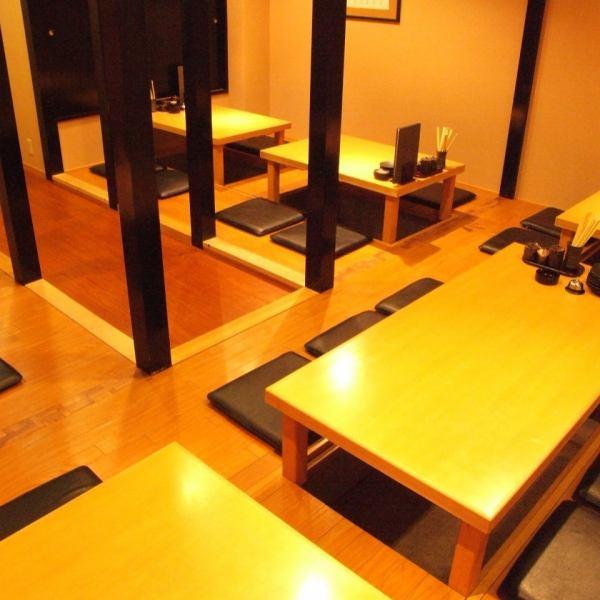 北浦和の人気店【膳】店内はゆったり空間♪奥の掘りごたつ席は、簾を上げれば和風の宴会場に!6名席、8名席、最大28名様までOK!
