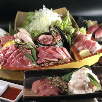 和牛とジンギスカン、炙り和牛ちらし寿司コースお料理全15品100分飲放付 6000円→5000円