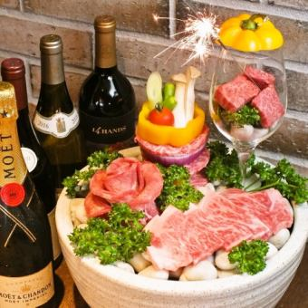 <For anniversary / birthday> With meat cake * Anniversary course 5000 yen <All 6 items> A toast with sparkling wine