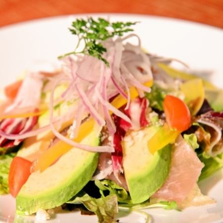 * Avocado and raw ham salad