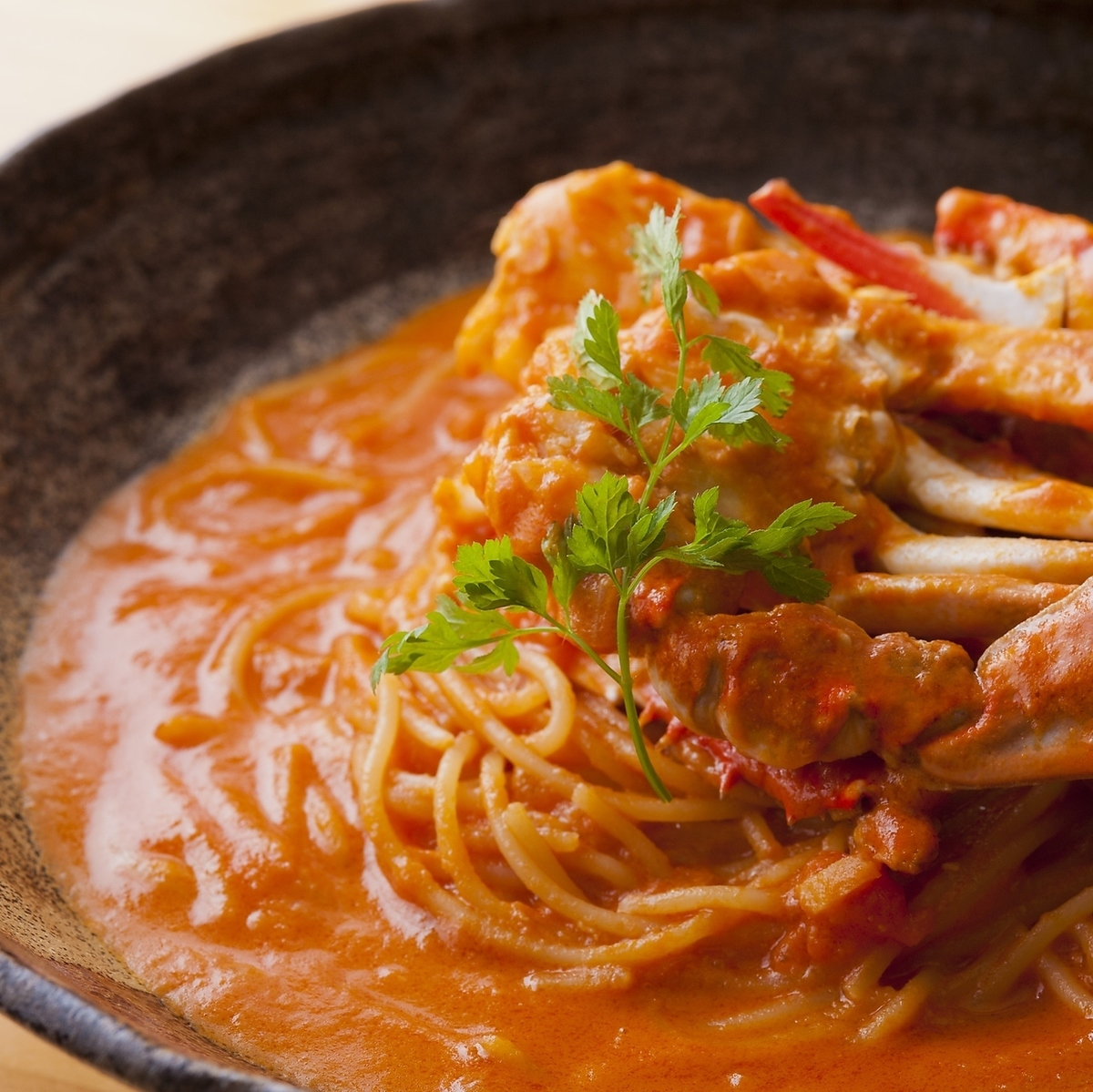 Crossing crab's tomato cream pasta