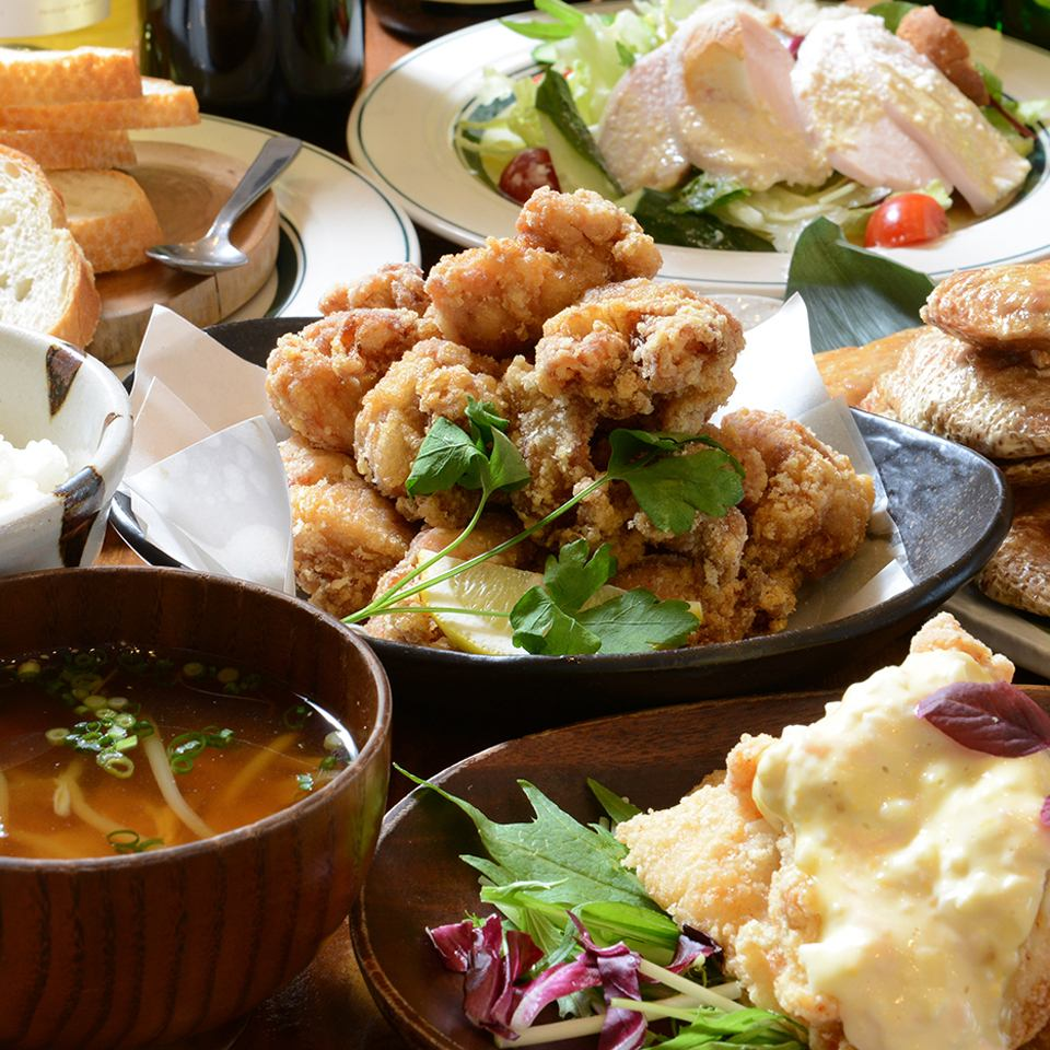 【True · Tofu Zamai】 course which you can enjoy deep-fried chicken fish including deep-fried shrimp in Japan (highest gold prize) which was popular even at famous department stores in the popular [Mezamashi TV].