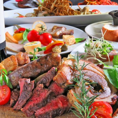 【Domestic production】 luxurious charcoal grilled steak of cattle, pig, chicken 3H [drinking] luxury course \ 4500