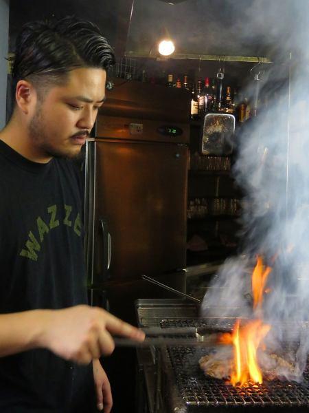 在國內牛排和蔬菜♪木炭是精彩盡在眼前燒掉,我們都凝結的味道!