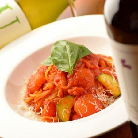Shrimp and tomato cream pasta