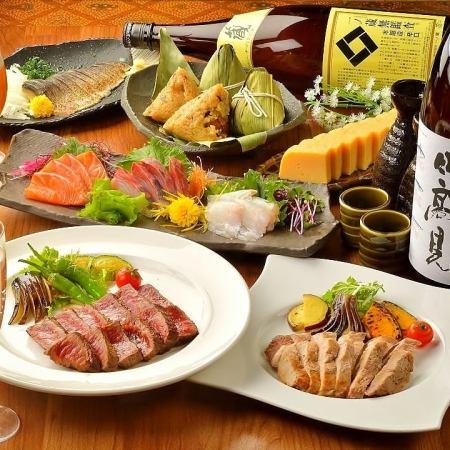 """Ya course"" ◇ Miyagi's brand pig JapanX, Ogaki Oyster (subject to change), Okinawa 50 OK ◇ 8 items Premium drink"