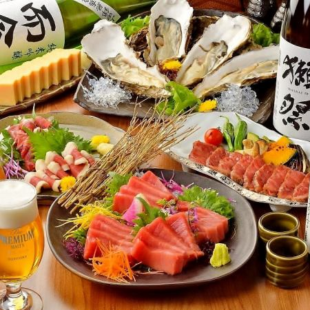 """Takumi course"" ◇ Sendai cattle, oversized dream oyster, horse sting, JapanX pig etc ☆ 10 items 150 minutes premium (12 kinds of sake)"