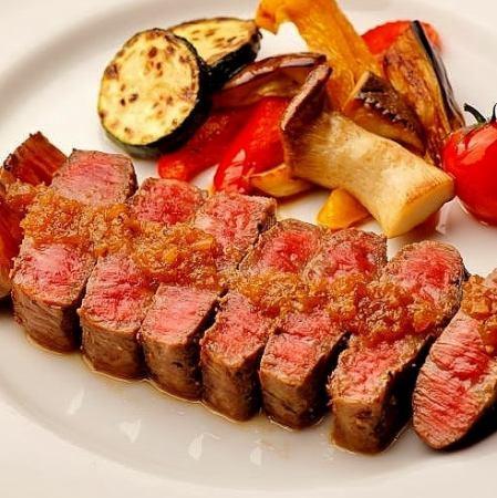 Sendai beef steak ~ leaves wasabi or onion sauce ~