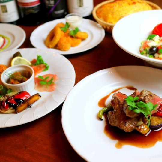 [萨吕场(敬礼当然)]开胃三种,如鸡煎炒所有5个菜2500日元(不含税)