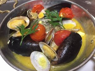 Mussels white wine steamed grilled basil sauce