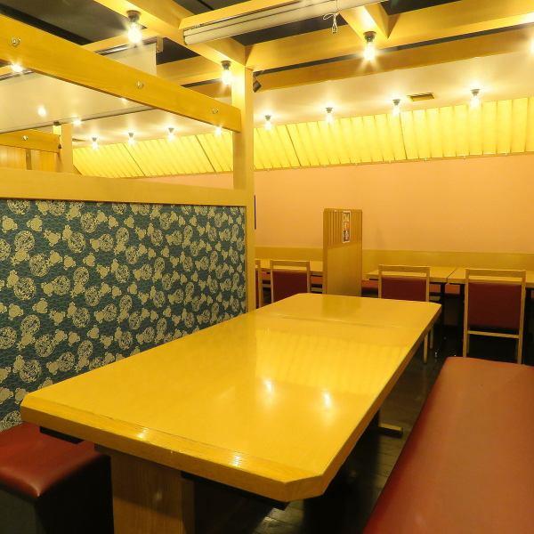 【BOX席2名様~8名様迄】プライベート空間を演出できるテーブルBOX席は間仕切りを使い半個室風にご利用いただけます。会社帰りなどでご利用ください!