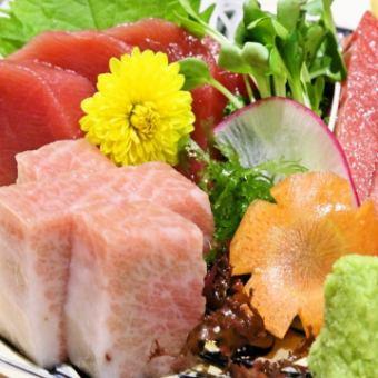 Assortment of sashimi with tuna