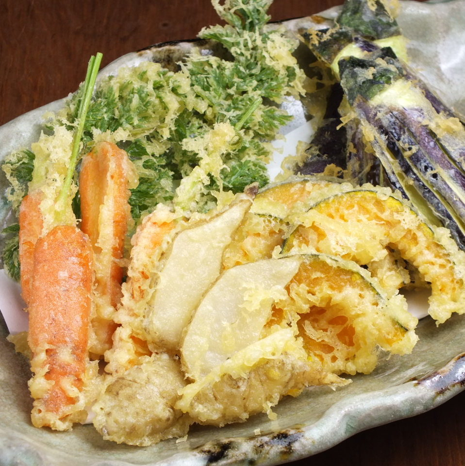 Morning pickled organic vegetable tempura