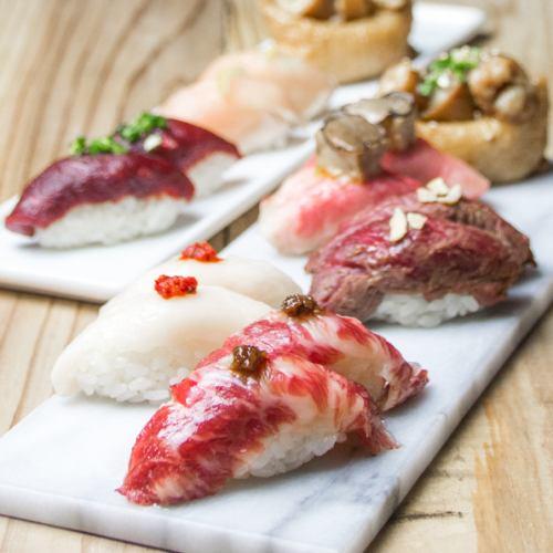 【豊富な品揃え】約60種類の肉寿司を170円~ご提供
