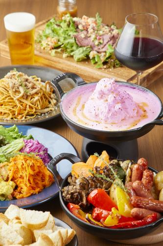 【Alcohol inclusion with 90 minutes with all you can drink】 ♪ Fuwafuwa pink cheese fondue course all 9 items 2480 yen
