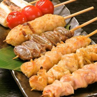 《やきとり》皮串・砂肝串・つくね串・鶏ればー串・ぼんじり串・もも串(全て塩/タレ)