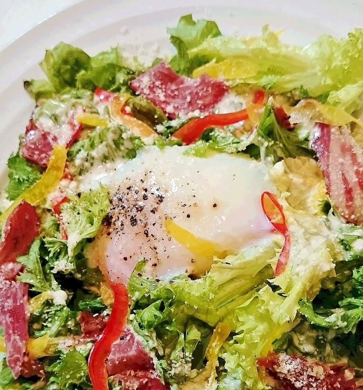 [竹鶏 계란] 반숙 계란 시저 샐러드