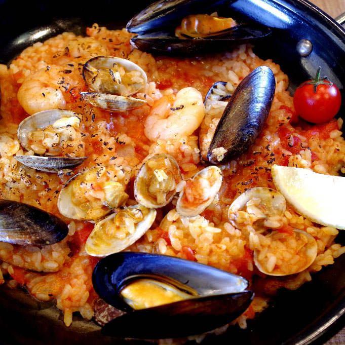 해물 토마토 크림 철판 리조또