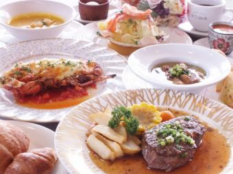 Omal prawn and Miyazaki beef special Dinner 8640 yen (tax included)