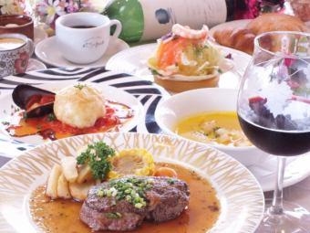 """""""特别晚餐套餐""""2小时7项6480日元(含税)⇒4800日元(含税)___ ___ ___ 0"""