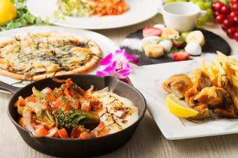 """Lunch""◆ 최대 5 시간 맘껏 마시기! 치즈 닭 갈비에 피자에! 리치 런치 코스 【10 종 3000]"