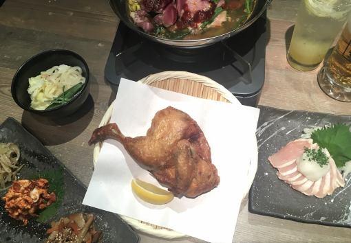 [鍋那些也想享受所有6菜餚,包括原來的炸雞輪2H喝當然3500日元與釋放