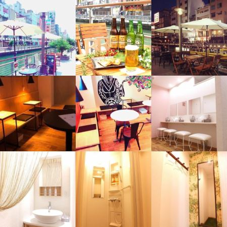 Dotonbori's baggage luggage storage room ☆ Enjoy a cafe on the terrace ♪ Pleasant powder room for women