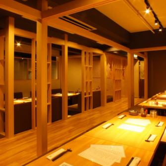 If the bulkhead. In: [first floor digging kotatsu type private room / table private room] bran and goodwill, you can also take in a small number of people.It is fragrant welcoming space of plain wood.