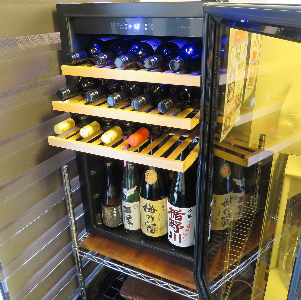 Selected sake and wine selected carefully