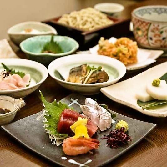 <日本酒を蕎麦と共に>蕎麦前懐石コース全9品2時間飲み放題付4,700円