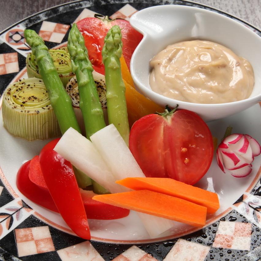 Bagna cauda of coloring vegetables