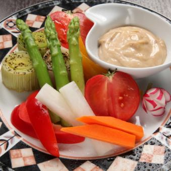 Bagna cauda of Aya and in vegetables