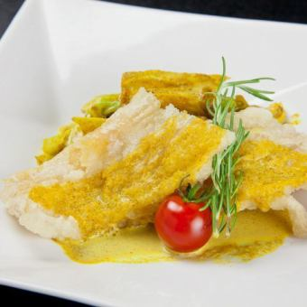 Fresh fish flit spicy cream sauce