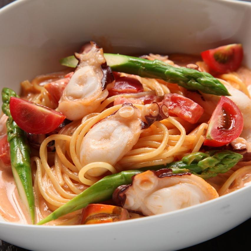 Being akashi Asparagus tomato cream pasta