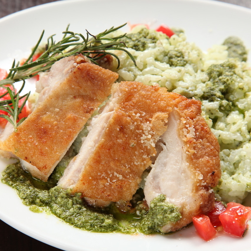 Basil's scented chicken risotto