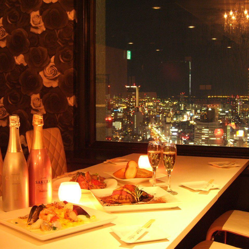A meal in the panoramic views of ♪ stylish atmosphere Umeda night view ★
