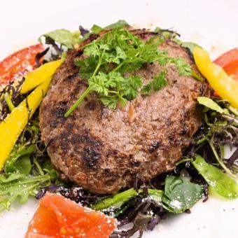 アボカドとカンガルー肉のハンバーグプレート ~アボカドオイルドレッシング~