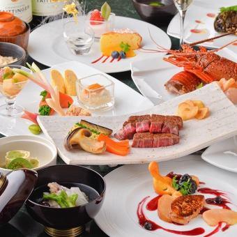 【禅宗】厨师的技巧和一流的配料·虾仁与伊势虾和黑毛和牛牛肉和谐/所有八个项目
