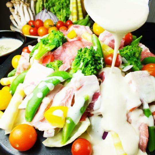 ☆ To the year-end party! 【Mikawa moch pig and seasonal vegetables iron plate Bagna cowder】 4500 yen ⇒ 4000 yen ※ Fri, Sat, and celebration 2 hours drunk