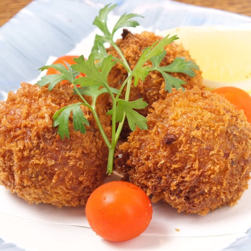 Grilled croquette of soft beef tongue