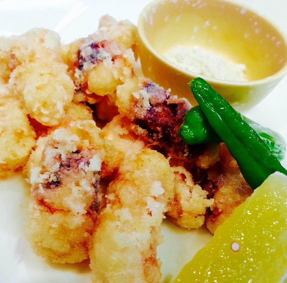 Deep-fried octopus / deep-fried deep-fried egg
