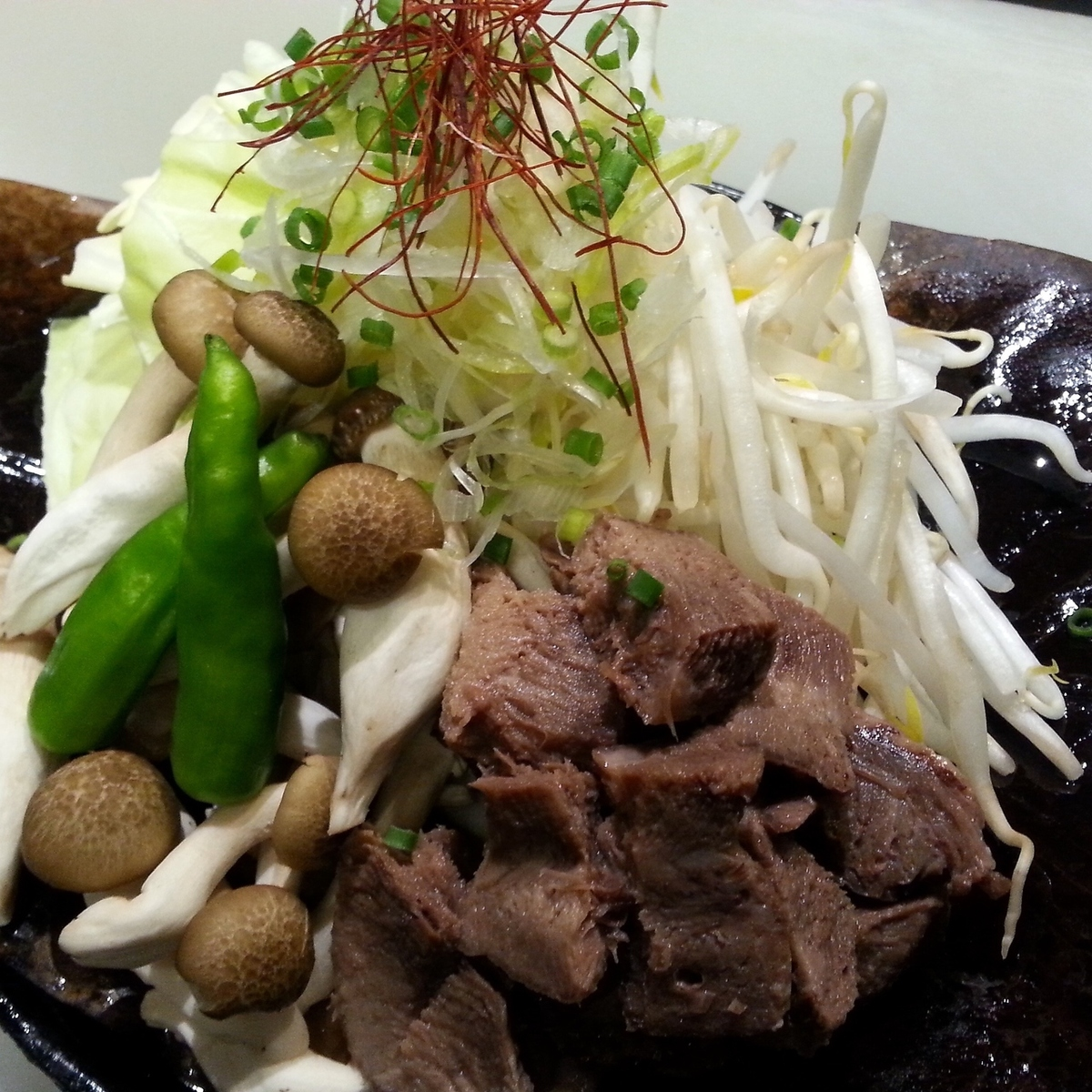Grilled beef tongue with miso pasta