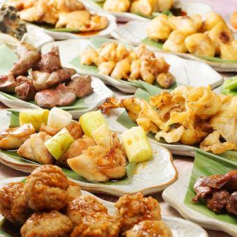 2.5 시간 ☆ 뷔페 35 종 + 음료 무제한 300 종 + 닭 꼬치 구이 · 닭 전골 뷔페 ⇒2799 엔 (세금 포함)