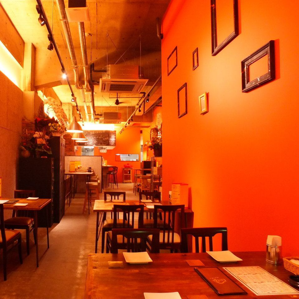 The store is hot relaxing atmosphere in which the orange tones.Also a special night ...