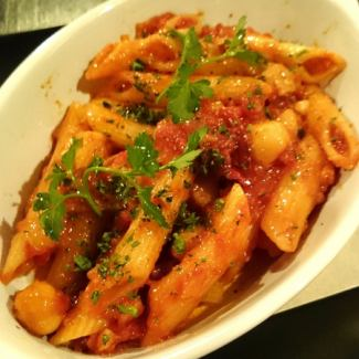 Penne Arabiata with Bacon and Eggplant