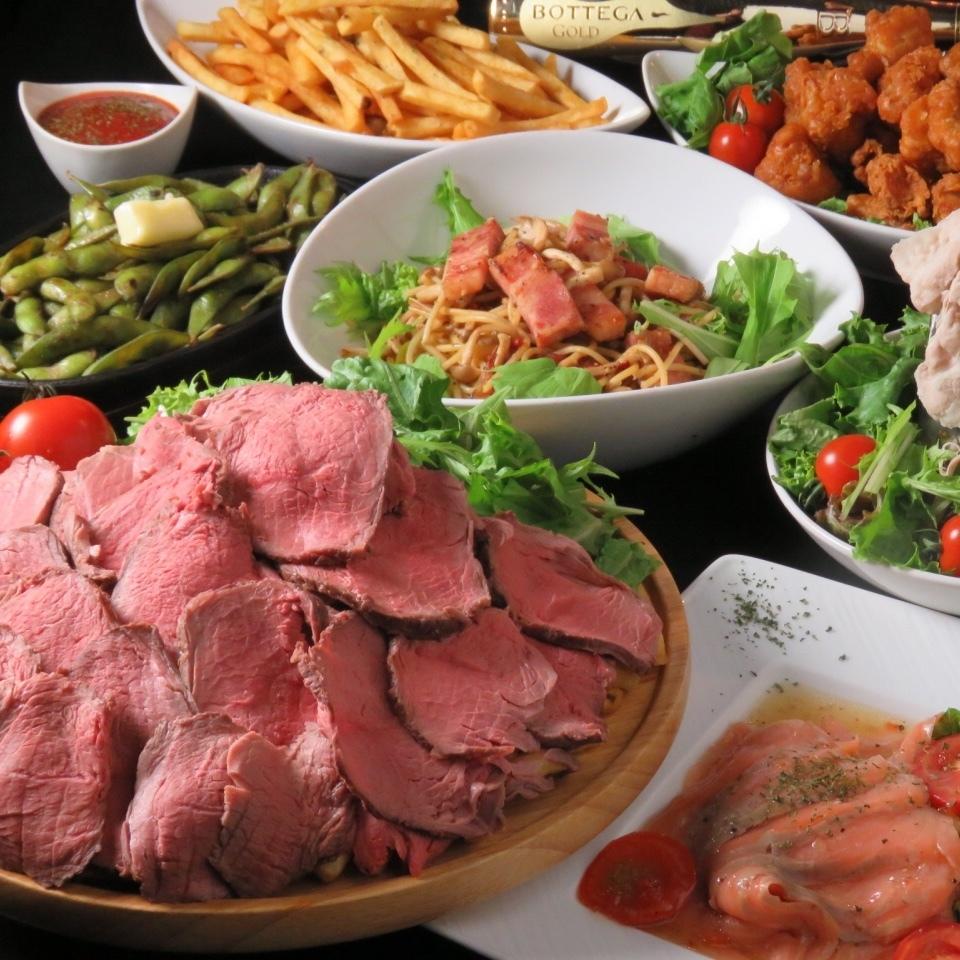 【肉類肉類菜餚】大型牛肉和飲料♪
